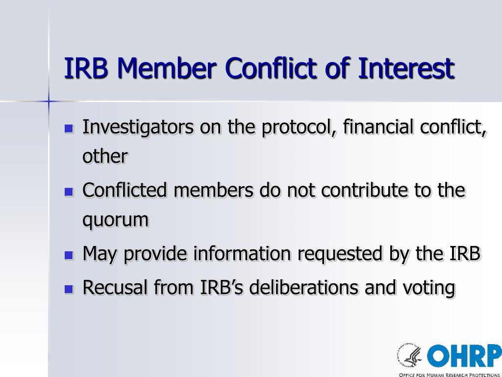 IRB Member Conflict of Interest