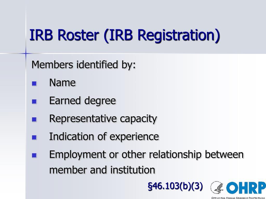 IRB Roster (IRB Registration)