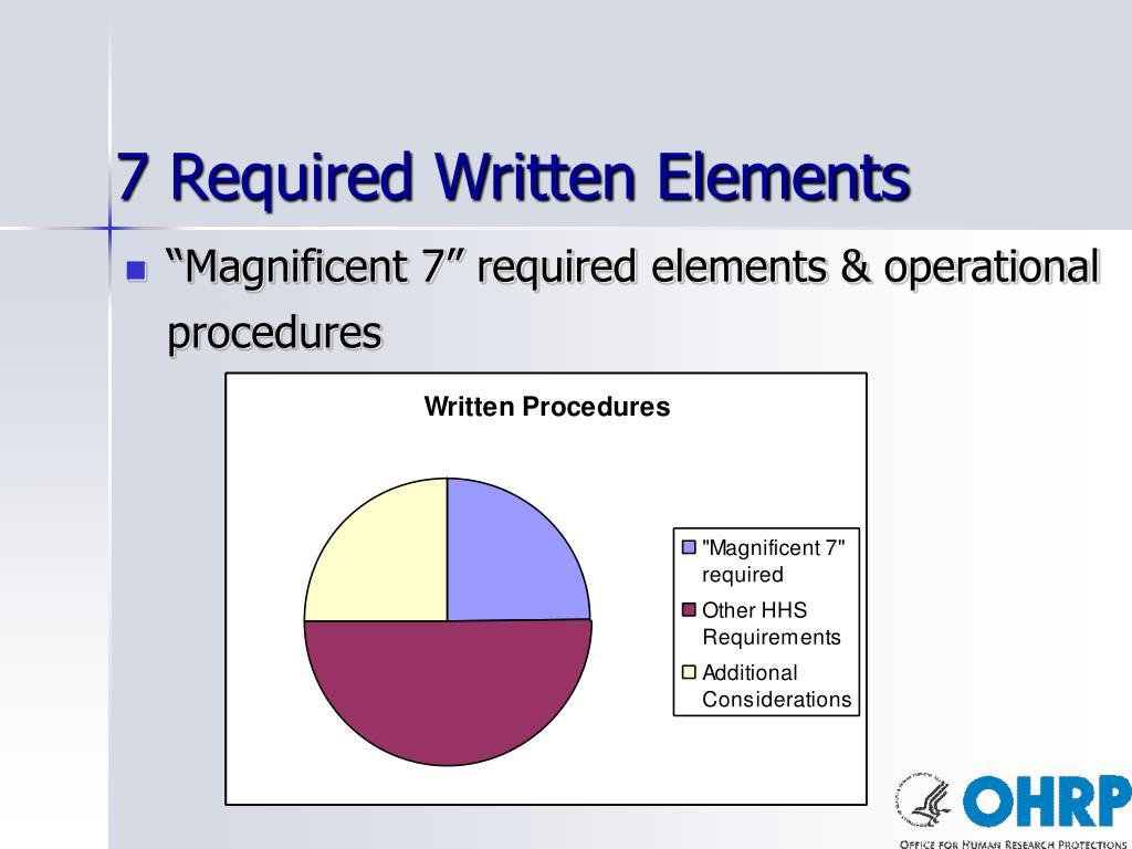 7 Required Written Elements