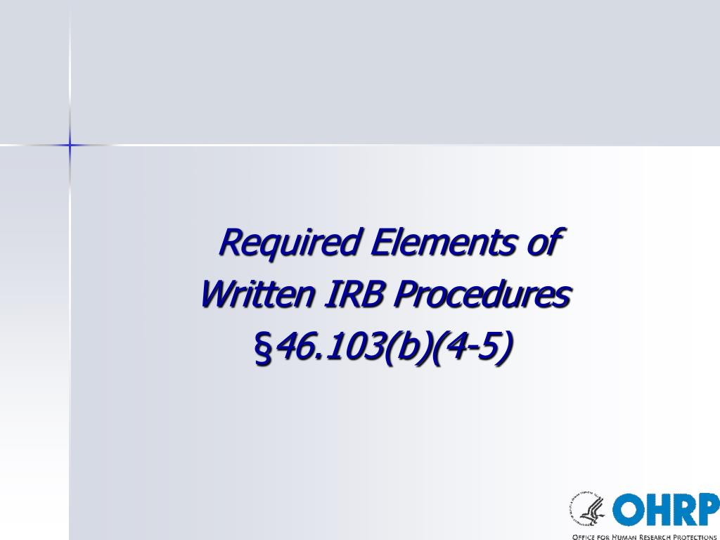 Required Elements of