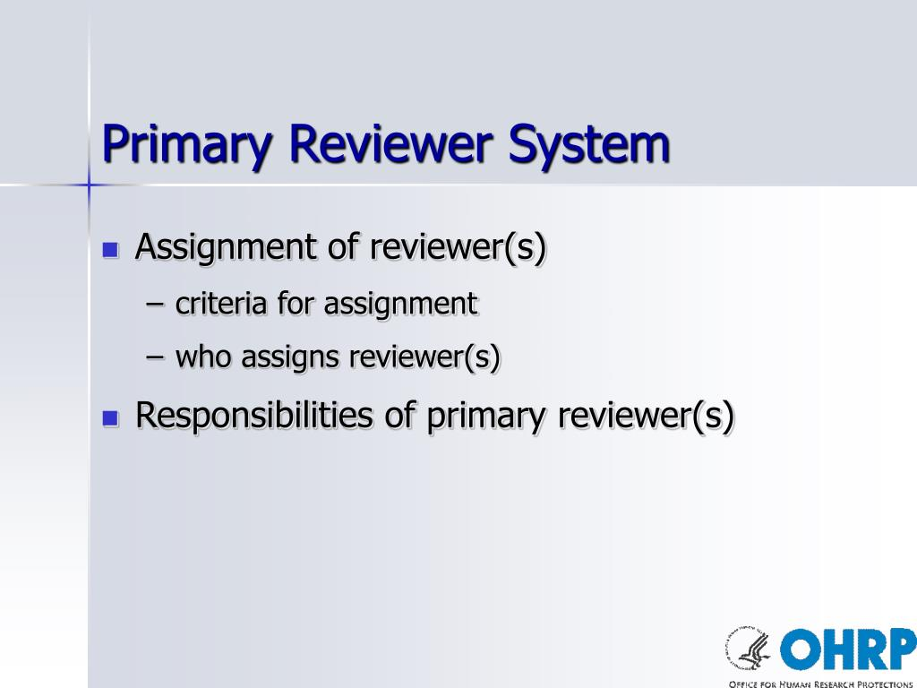 Primary Reviewer System