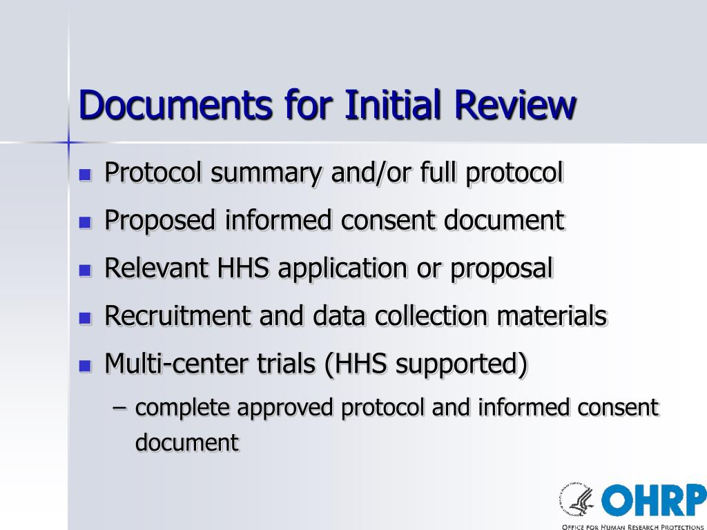 Documents for Initial Review