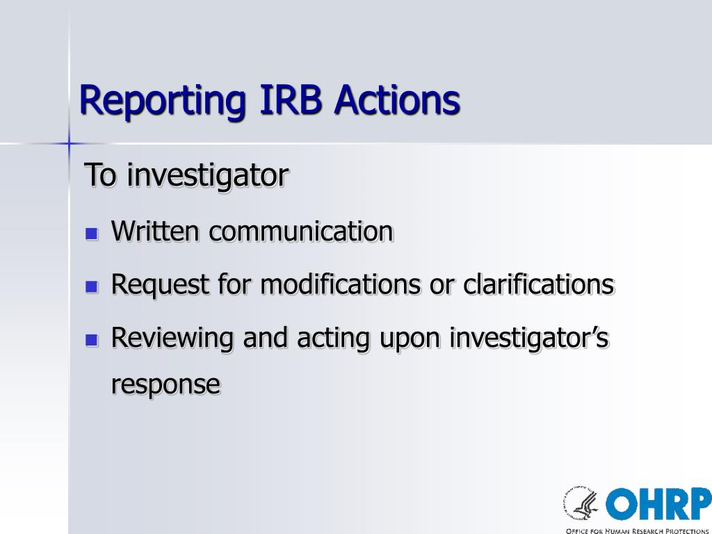 Reporting IRB Actions