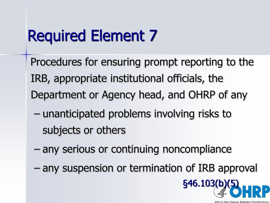 Required Element 7