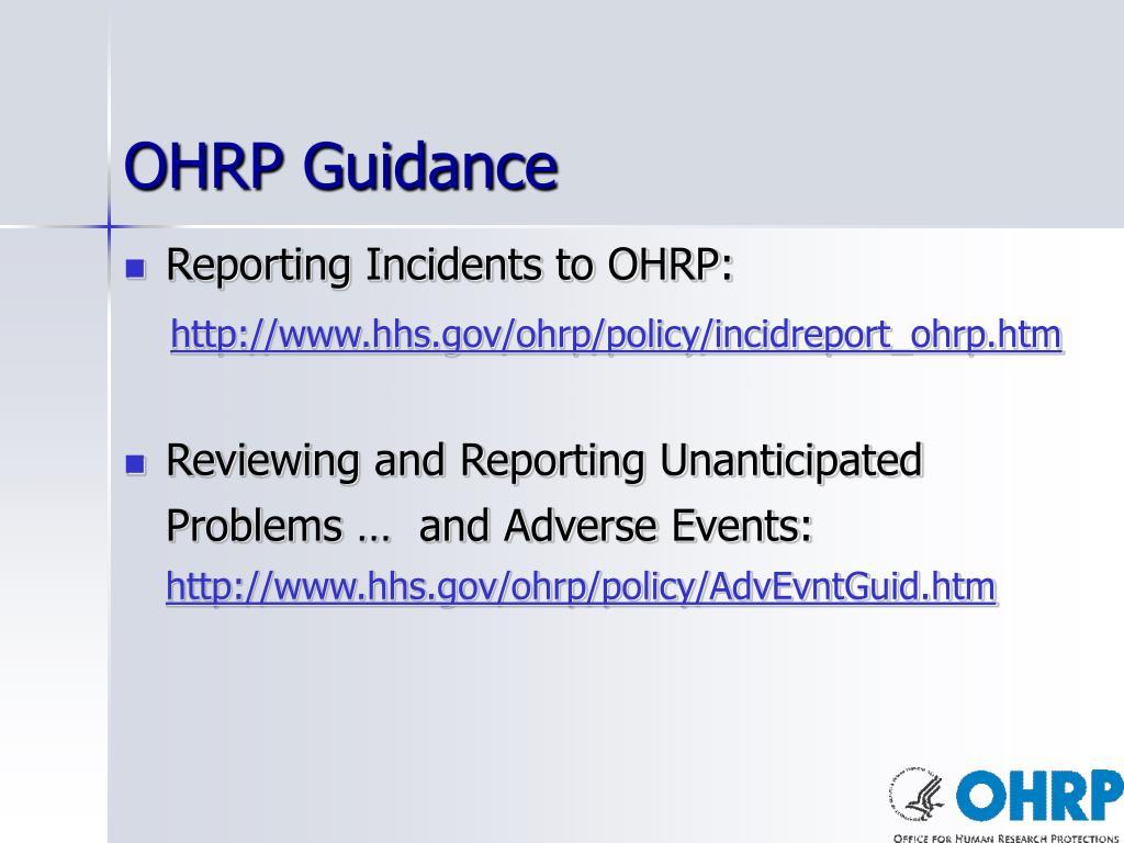 OHRP Guidance