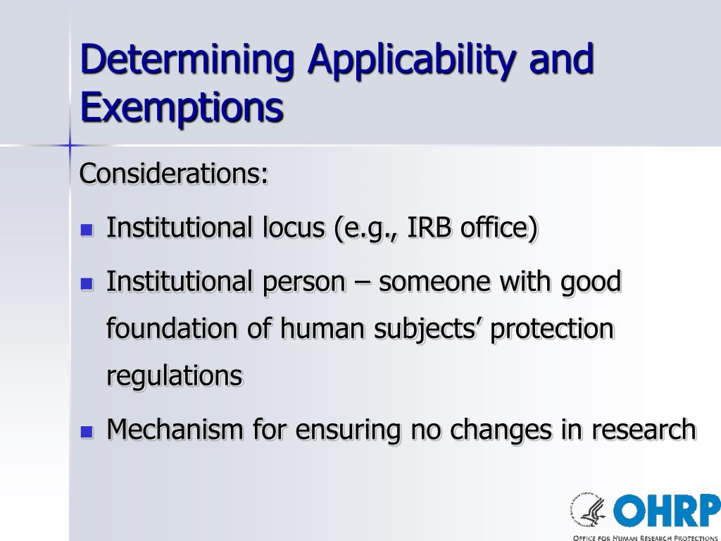 Determining Applicability and Exemptions
