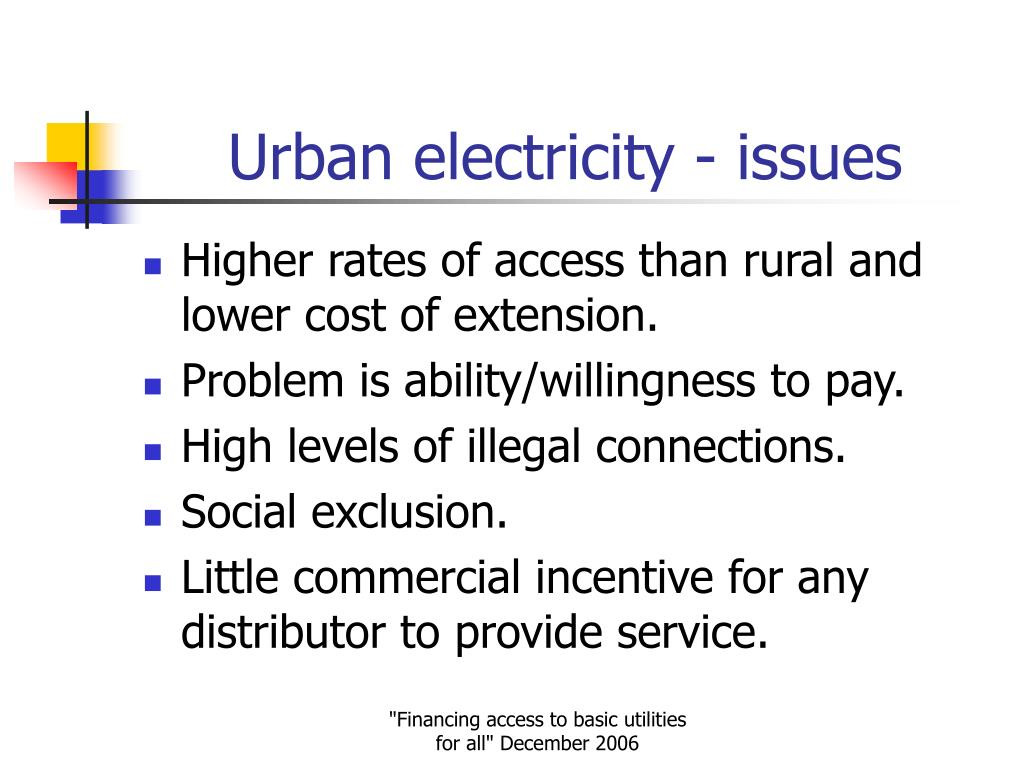 Urban electricity - issues