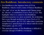 zen buddhism introductory comments