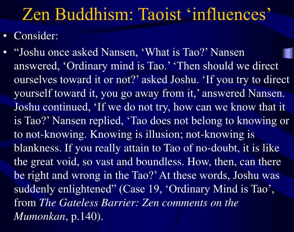 Zen Buddhism: Taoist 'influences'