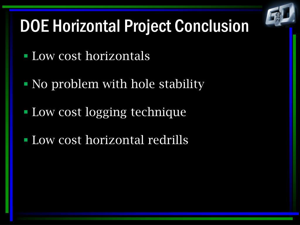 DOE Horizontal Project Conclusion