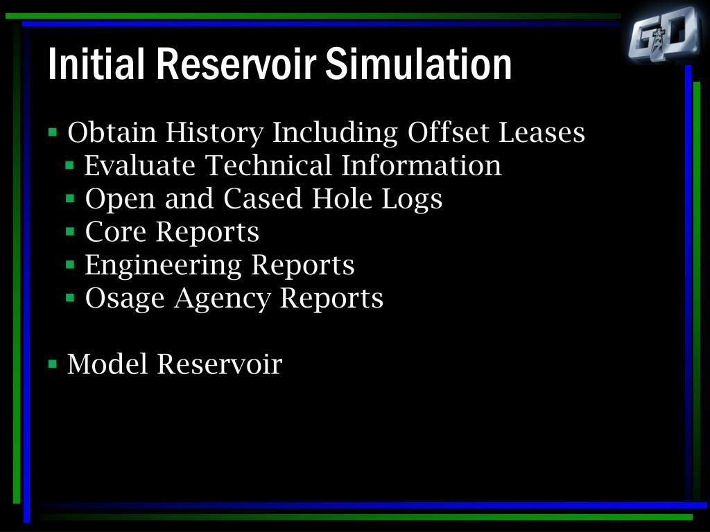 Initial Reservoir Simulation