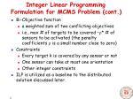 integer linear programming formulation for mcms problem cont