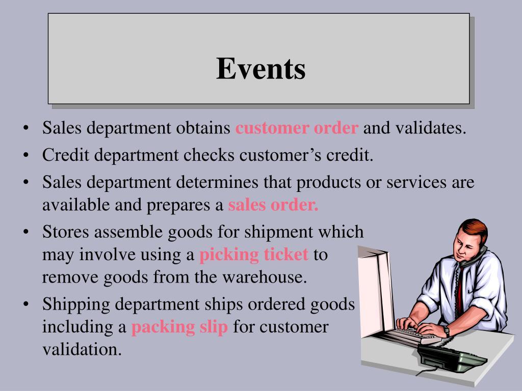 Sales department obtains