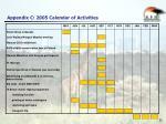appendix c 2005 calendar of activities