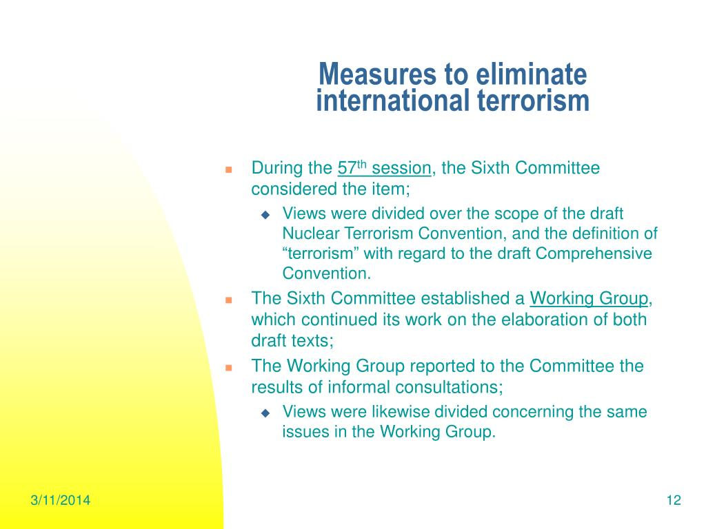 Measures to eliminate
