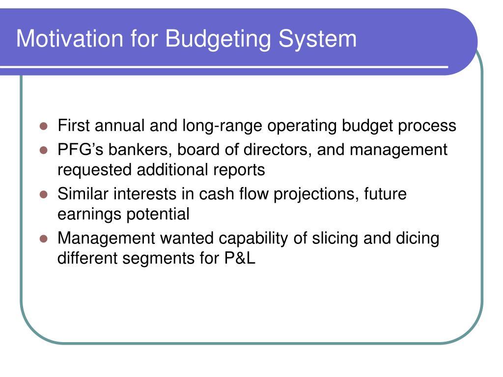 Motivation for Budgeting System