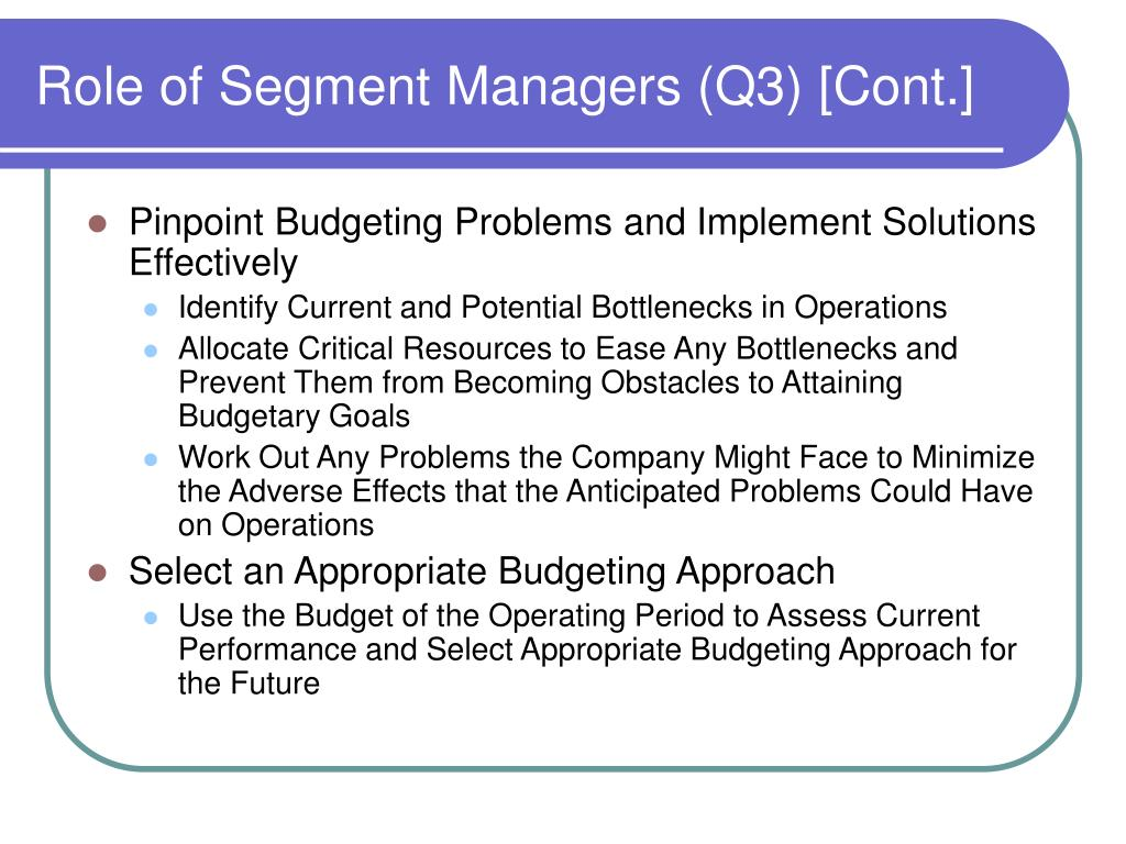 Role of Segment Managers (Q3) [Cont.]