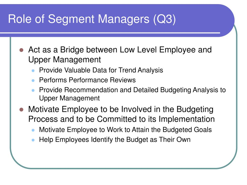Role of Segment Managers (Q3)