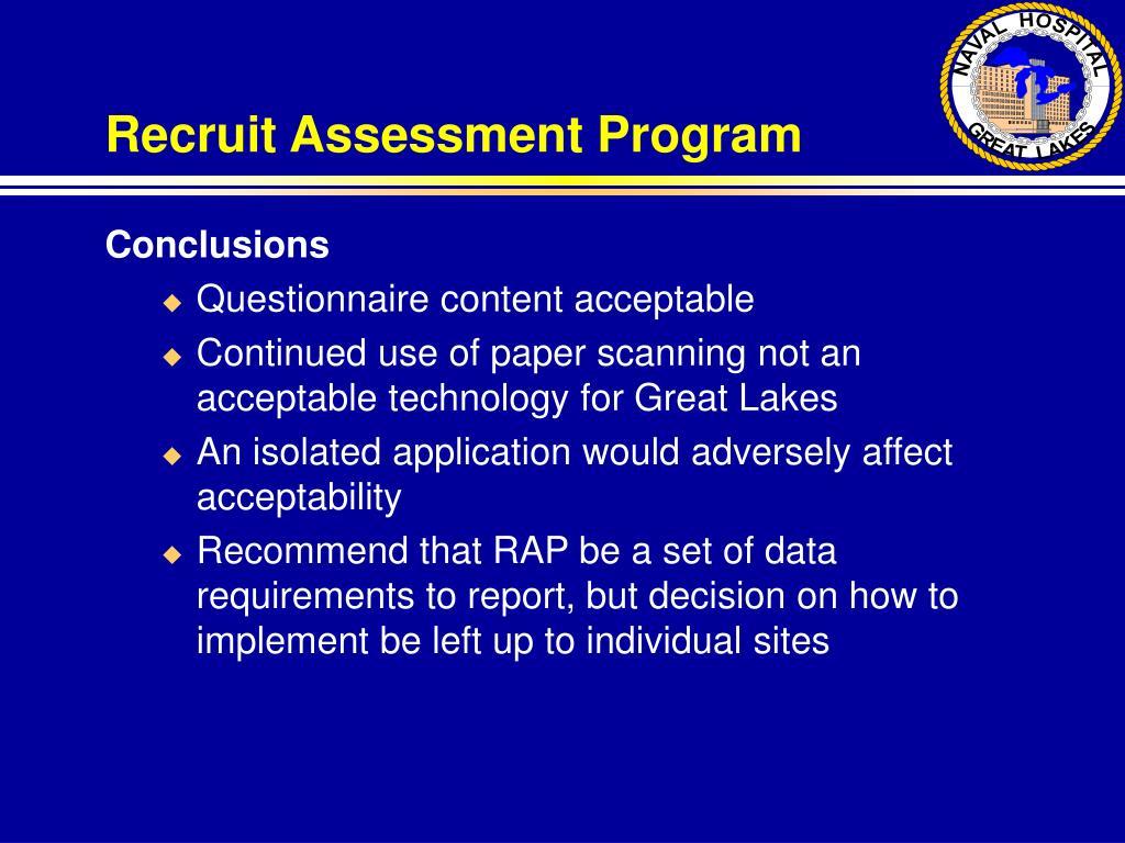 Recruit Assessment Program