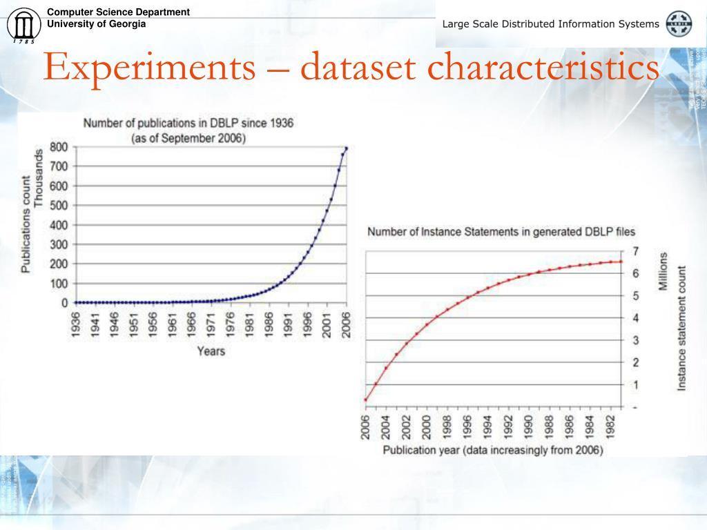 Experiments – dataset characteristics