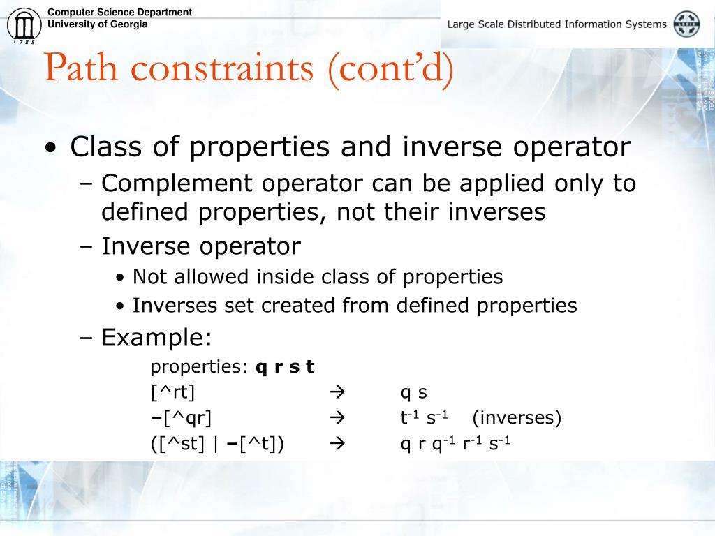 Path constraints (cont'd)