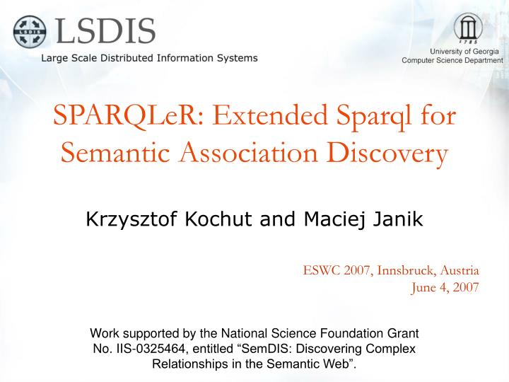 Sparqler extended sparql for semantic association discovery