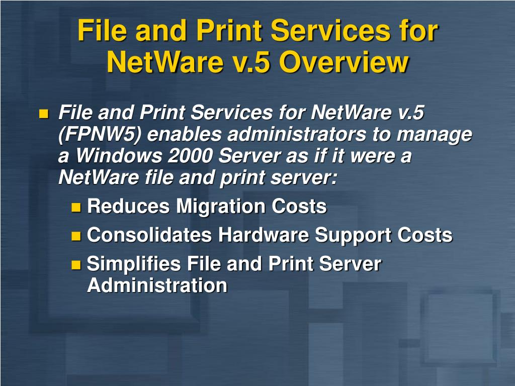 File and Print Services for