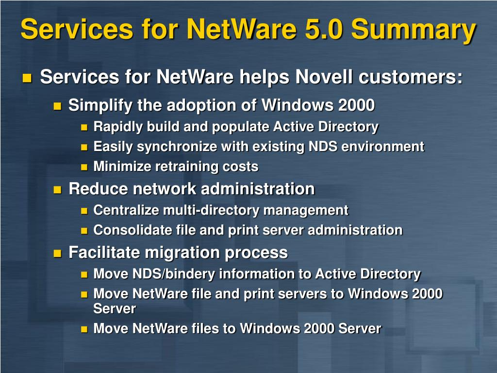 Services for NetWare 5.0 Summary