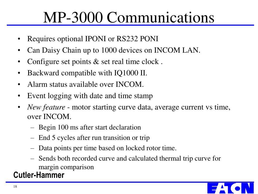MP-3000 Communications