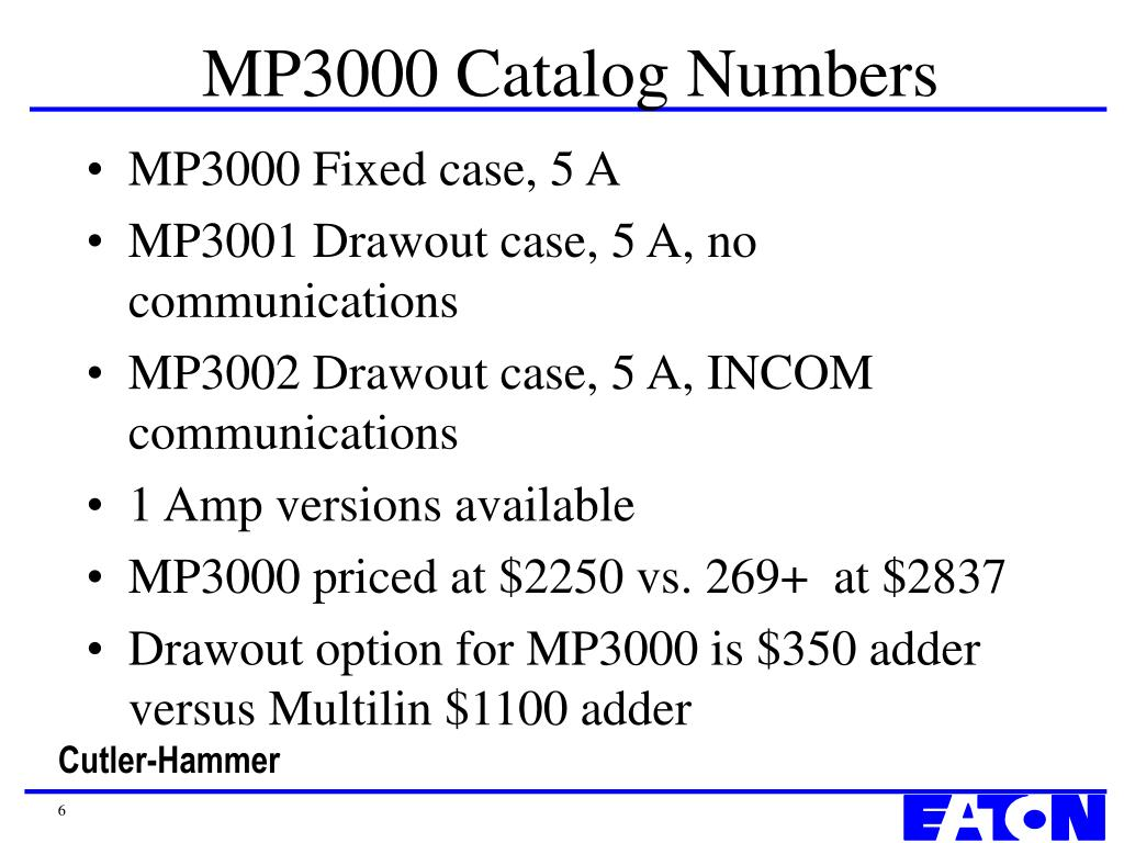 MP3000 Catalog Numbers