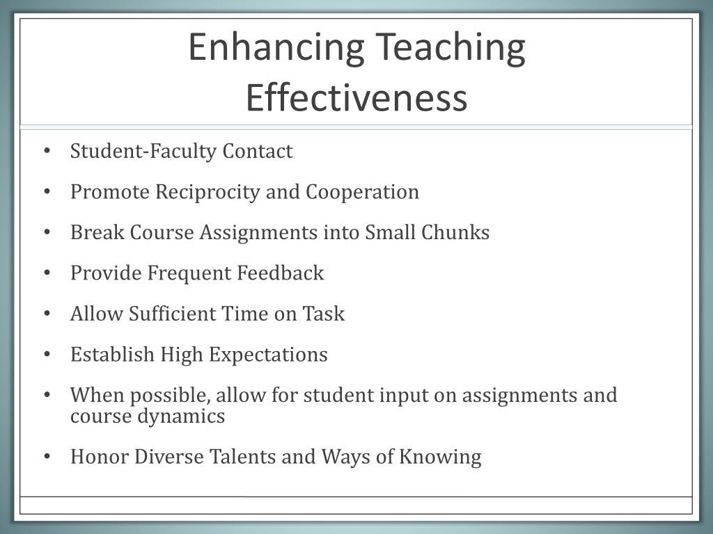 Enhancing Teaching Effectiveness