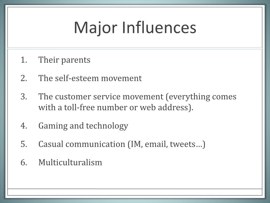Major Influences