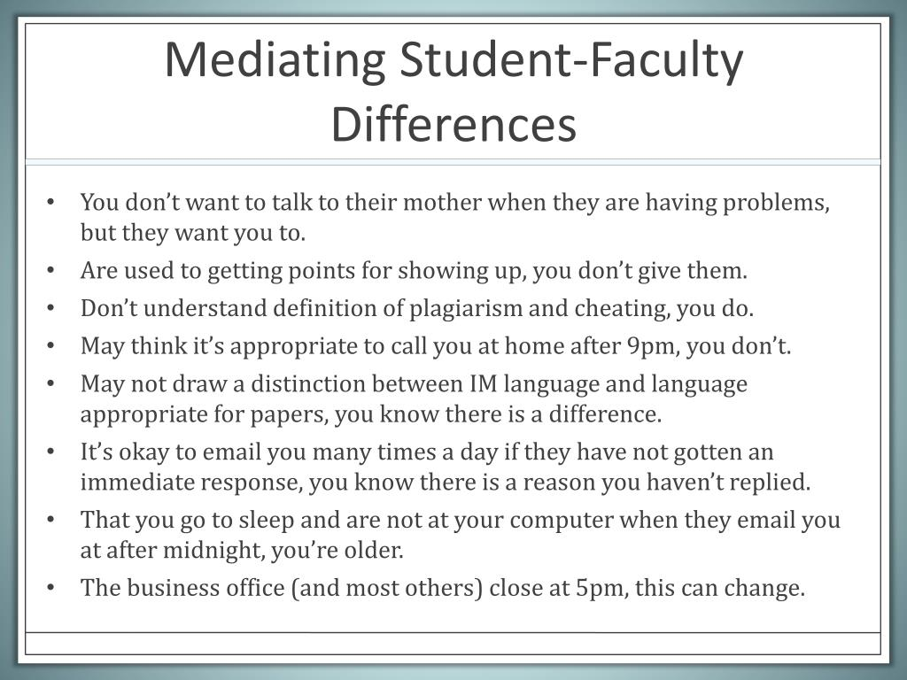 Mediating Student-Faculty Differences