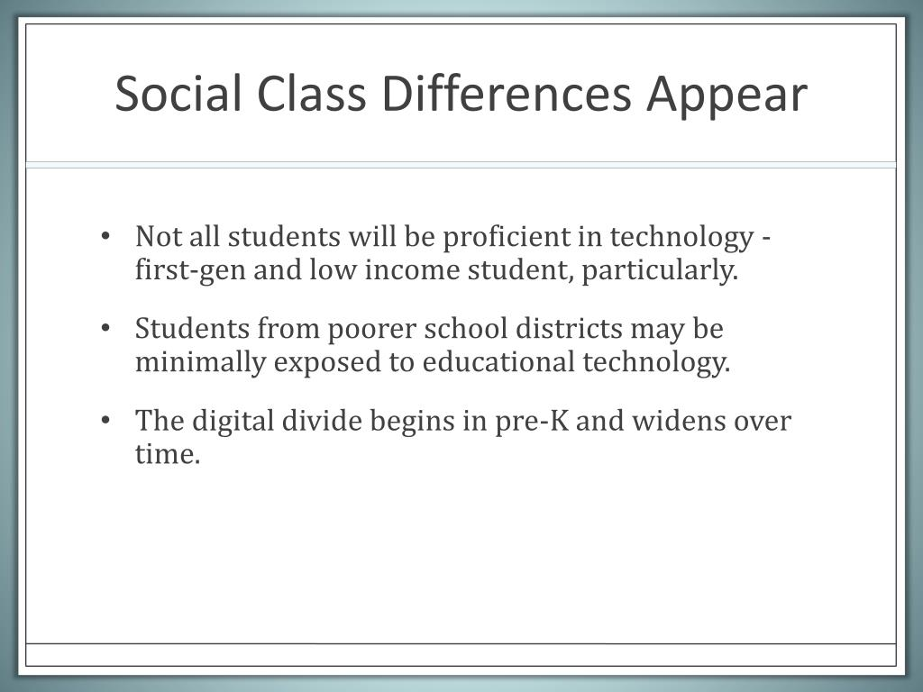 Social Class Differences Appear