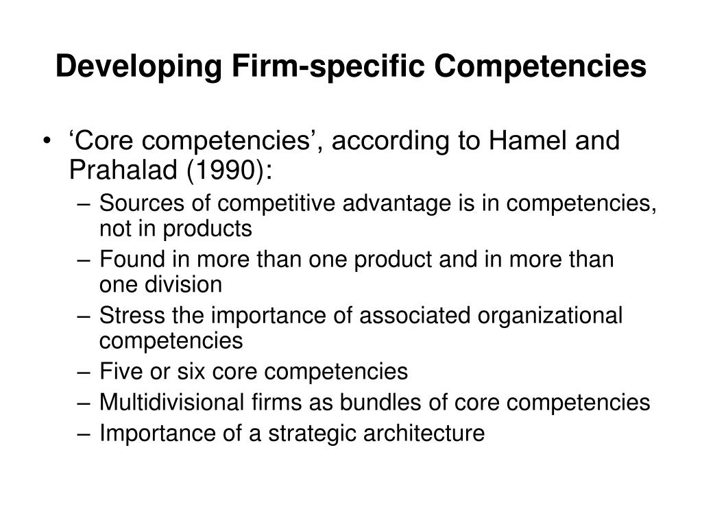 Developing Firm-specific Competencies
