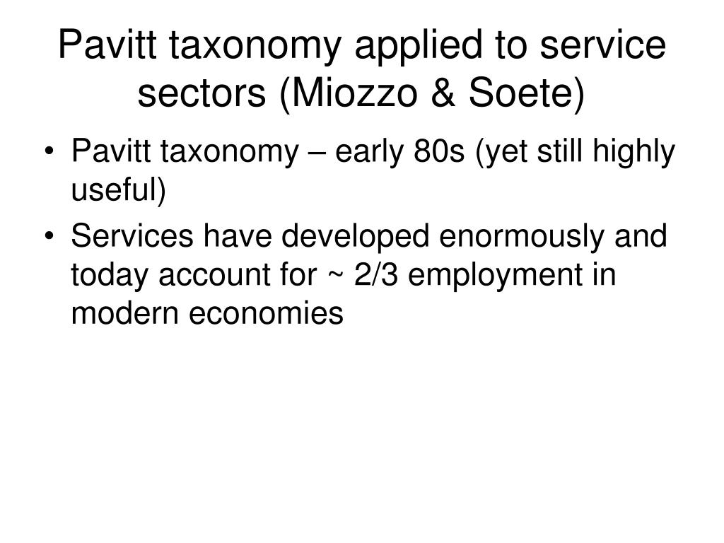 Pavitt taxonomy applied to service sectors (Miozzo & Soete)