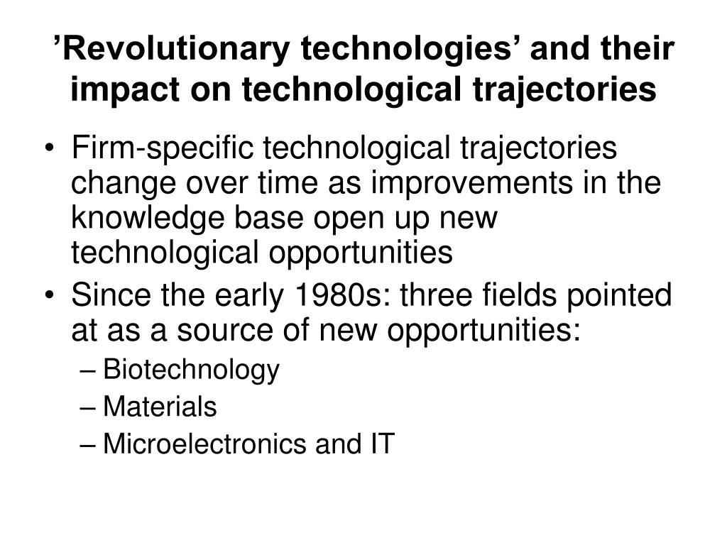 'Revolutionary technologies' and their impact on technological trajectories