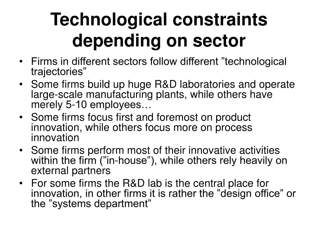 Technological constraints depending on sector