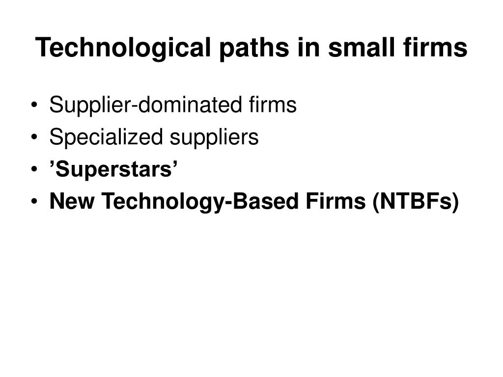 Technological paths in small firms