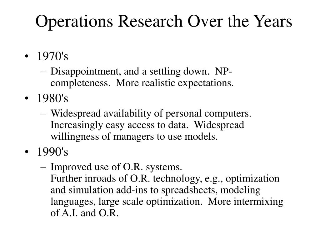 Operations Research Over the Years
