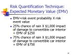 risk quantification technique expected monetary value emv