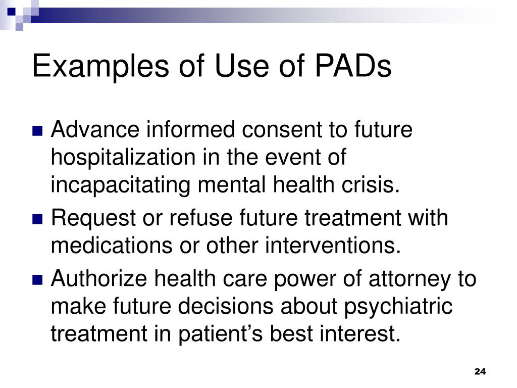 Examples of Use of PADs