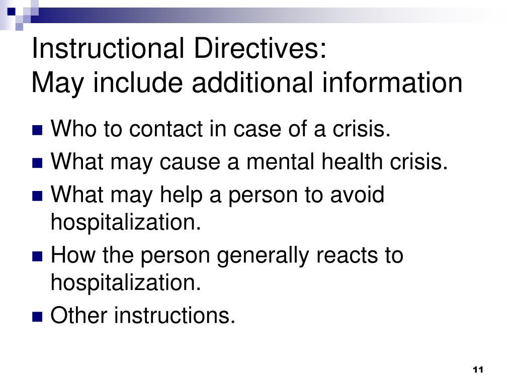 Instructional Directives: