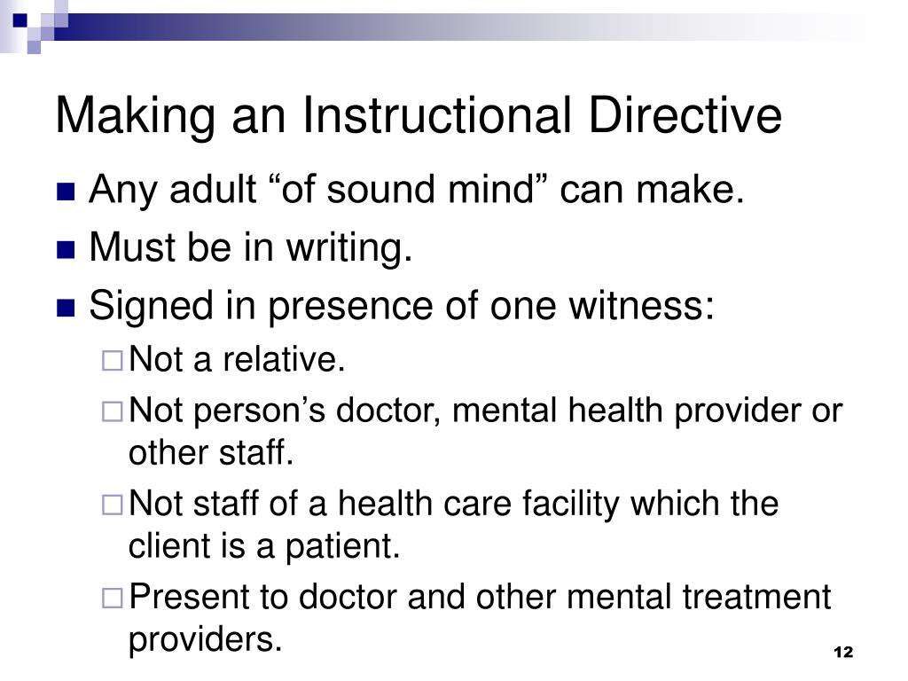Making an Instructional Directive