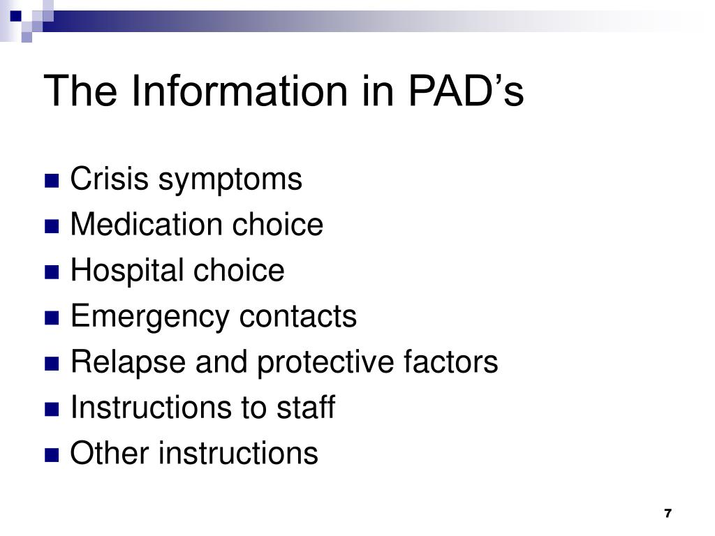 The Information in PAD's