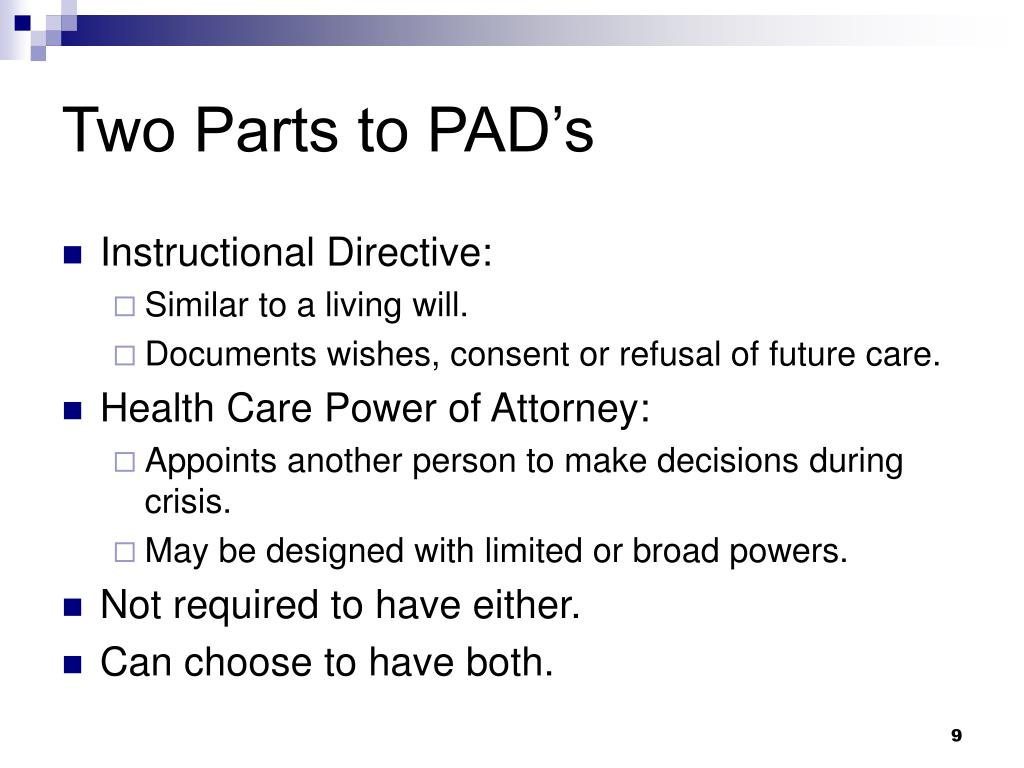 Two Parts to PAD's