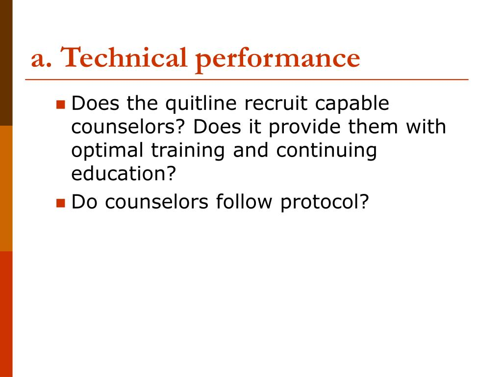 a. Technical performance