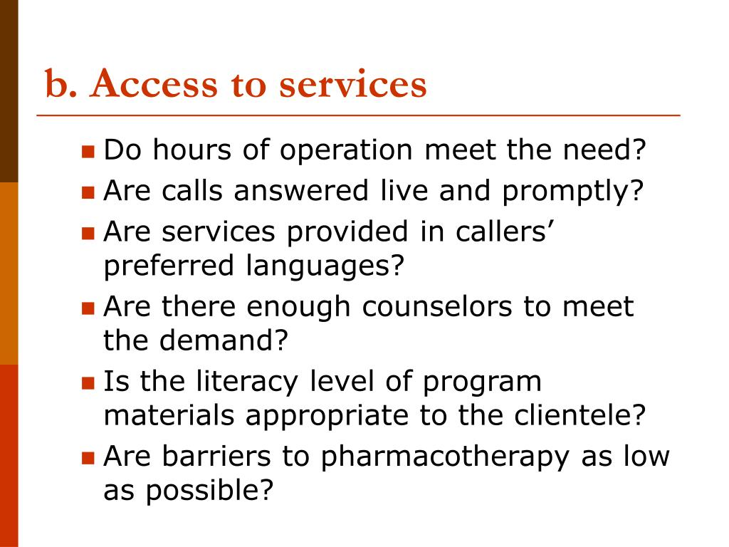 b. Access to services