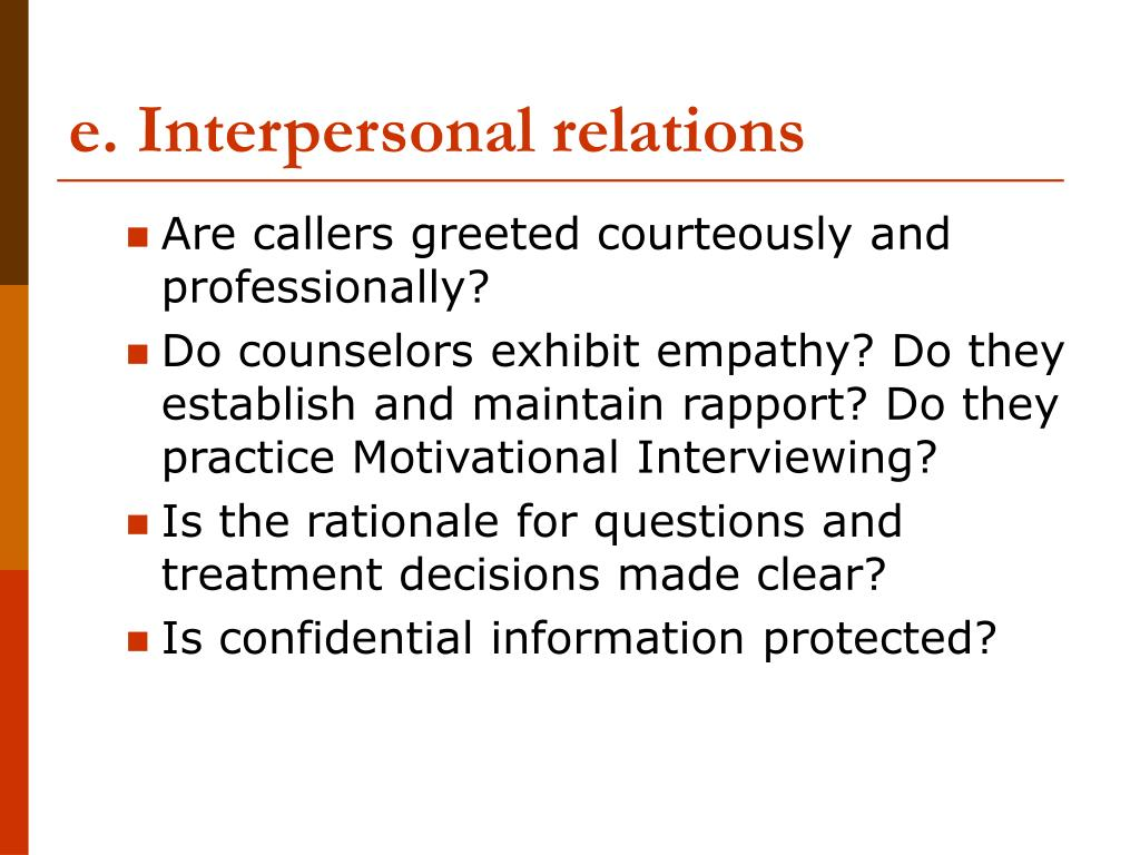e. Interpersonal relations