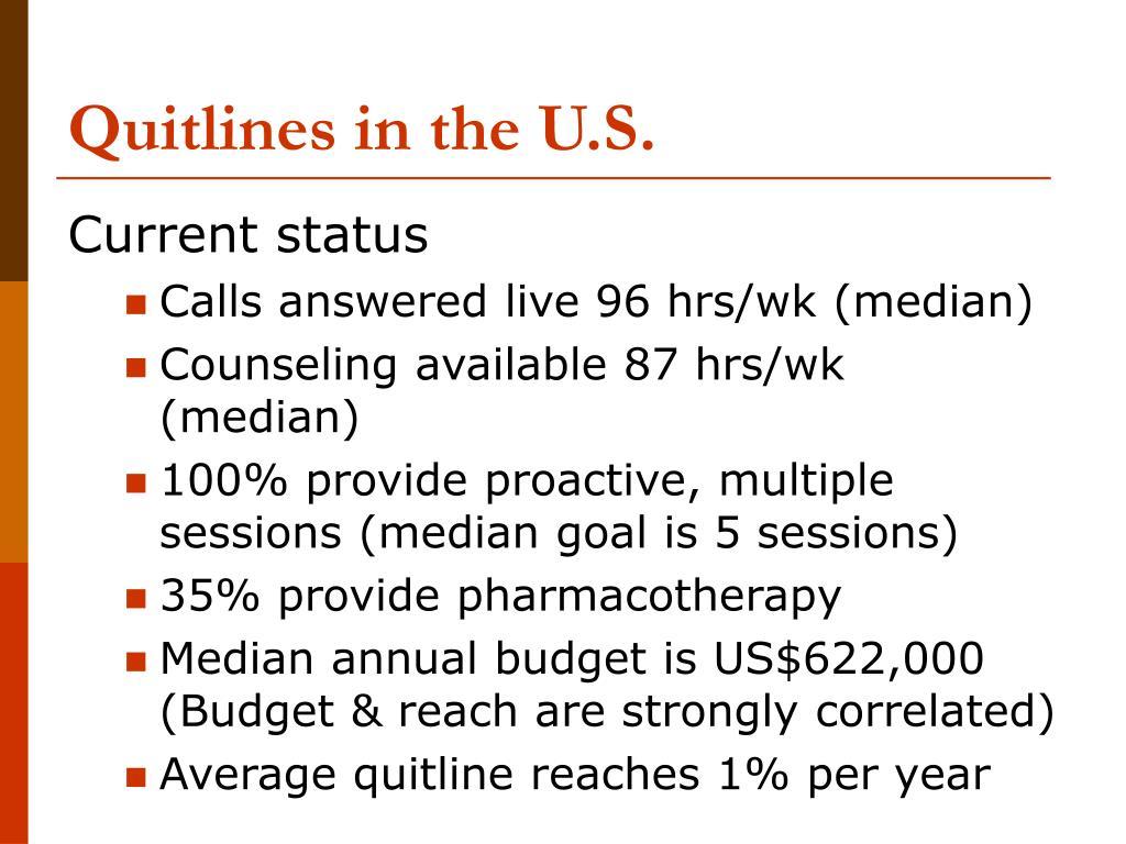 Quitlines in the U.S.